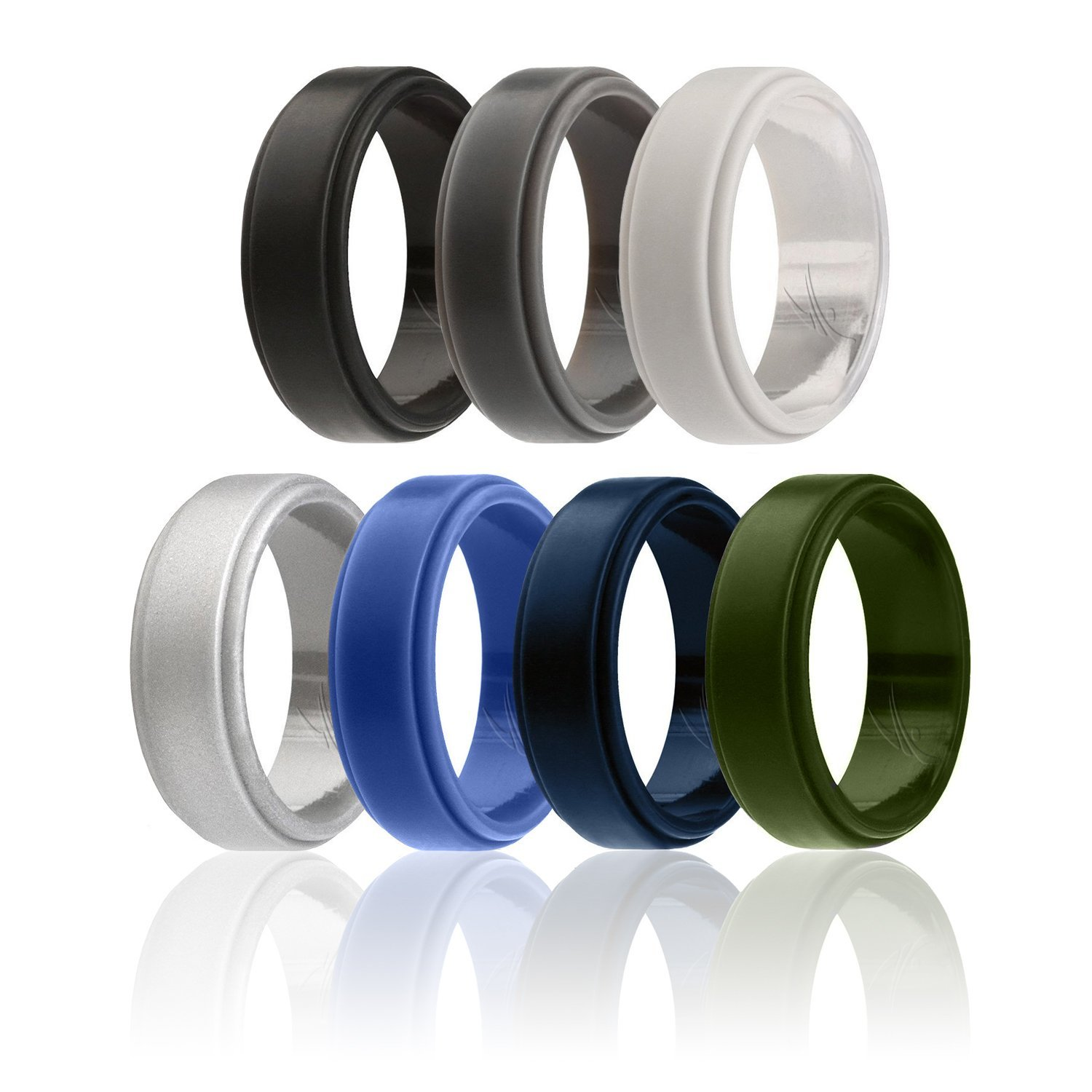 ROQ Silicone Wedding Ring for Men, 4 Pack Silicone Rubber Band Step Edge - Black, Grey, Silver, Light Grey, Blue, Dark Blue, Olive Green - Size 11
