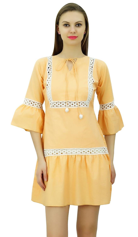 Bimba Sommer Boho Kurzes Kleid Rüsche Ärmel Mini Kleid Boho Chic Strand Kleider