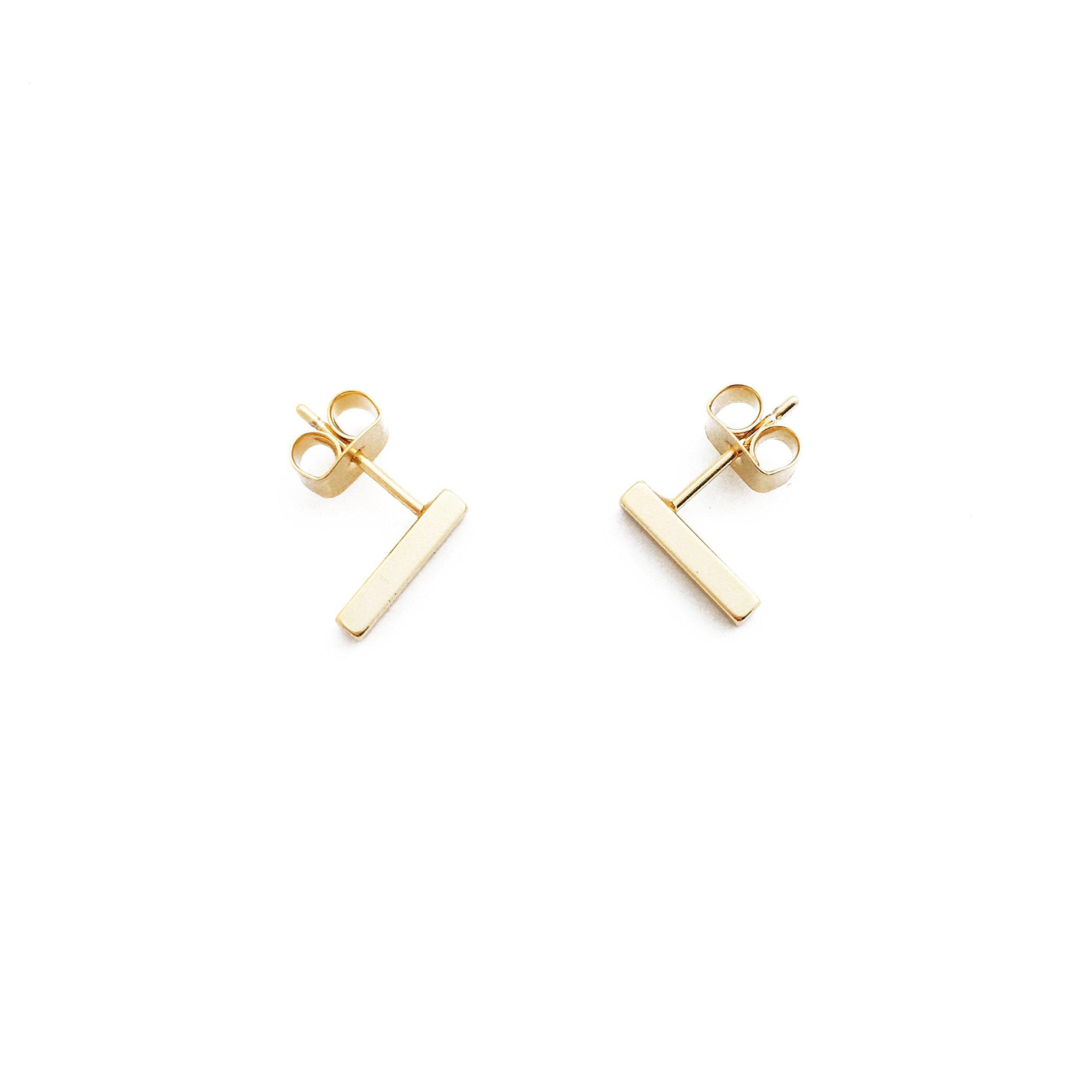 HONEYCAT Flat Drop Bar Stud Earrings in 24k Gold Plate   Minimalist, Delicate Jewelry (Gold)