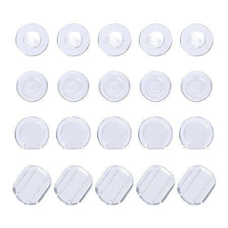 100 Piezas de Almohadilla de Pendiente Cojín de Pendiente de Silicona para Clip de Pendiente, 4 Formas, Transparente