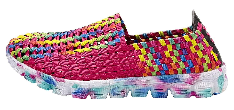 XIAOCHONG Womens Casual Flats Woven Shoes Elastic Sport Slip on Sneaker
