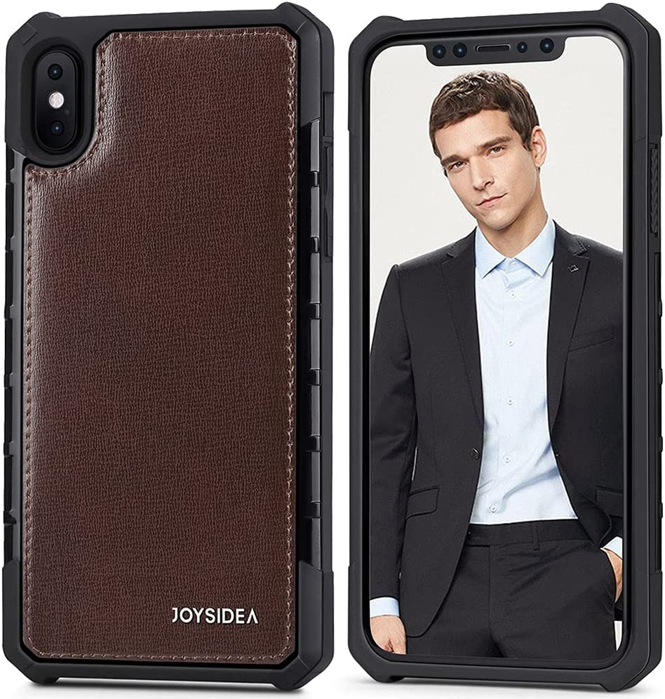 """JOYSIDEA iPhone X/Xs Leather Case, Luxury Genuine Leather Military Grade Protective Cover, Slim Full-Body Shockproof Anti-Slip Hybrid Bumper for iPhone X/Xs 5.8"""", Brown"""