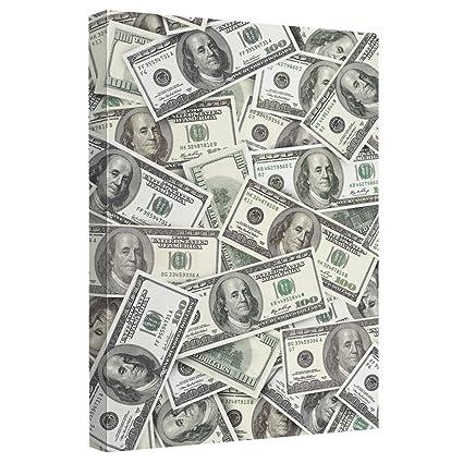 amazon com hundred dollar bills stretched canvas framed artwrap