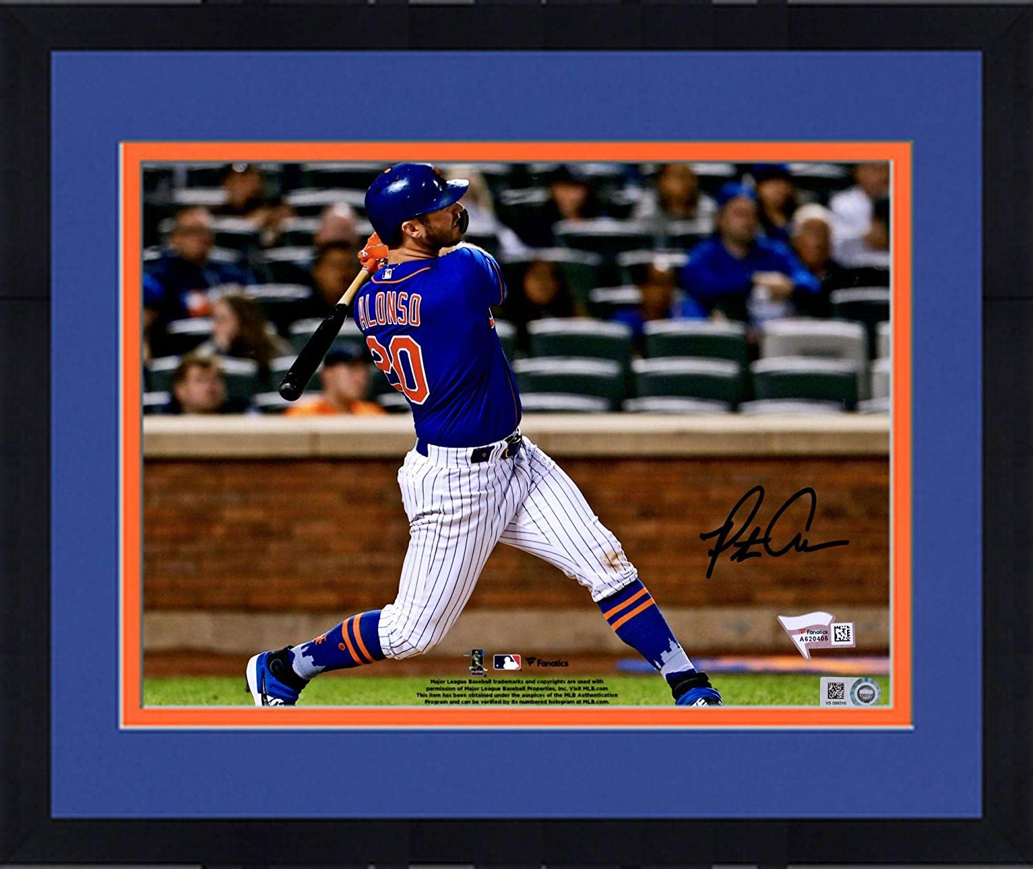 Fanatics Authentic Certified Framed Pete Alonso New York Mets Autographed 8 x 10 Swinging Photograph