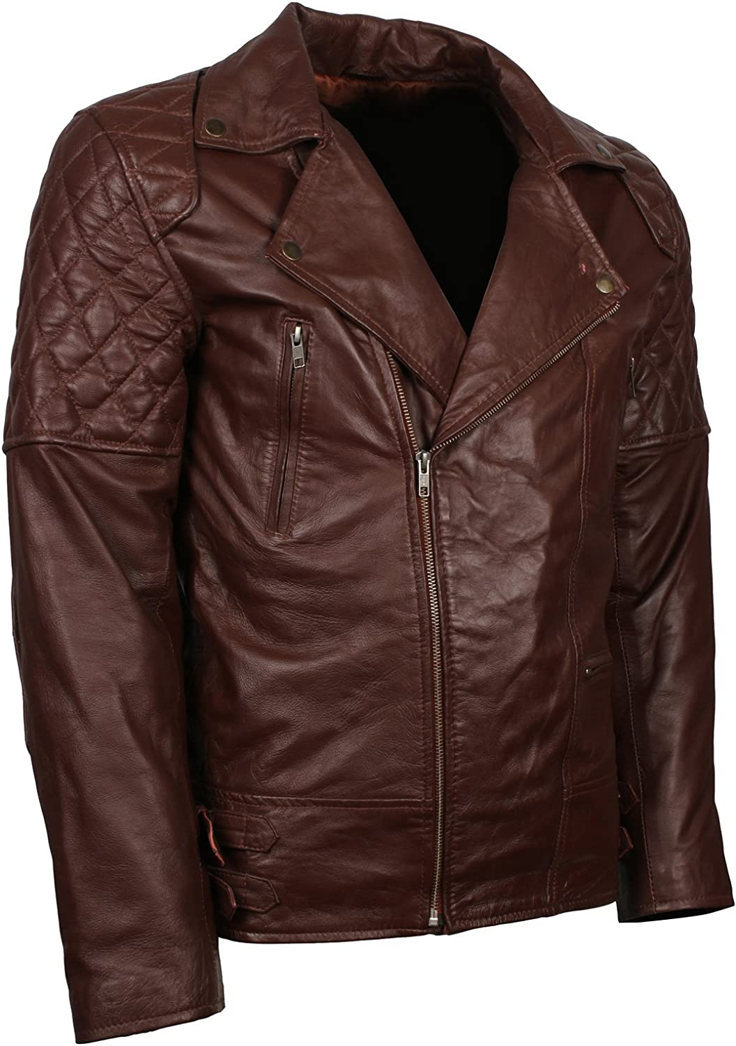 Mens Diamond Quilted Classical Biker Style Brown Leather Jacket