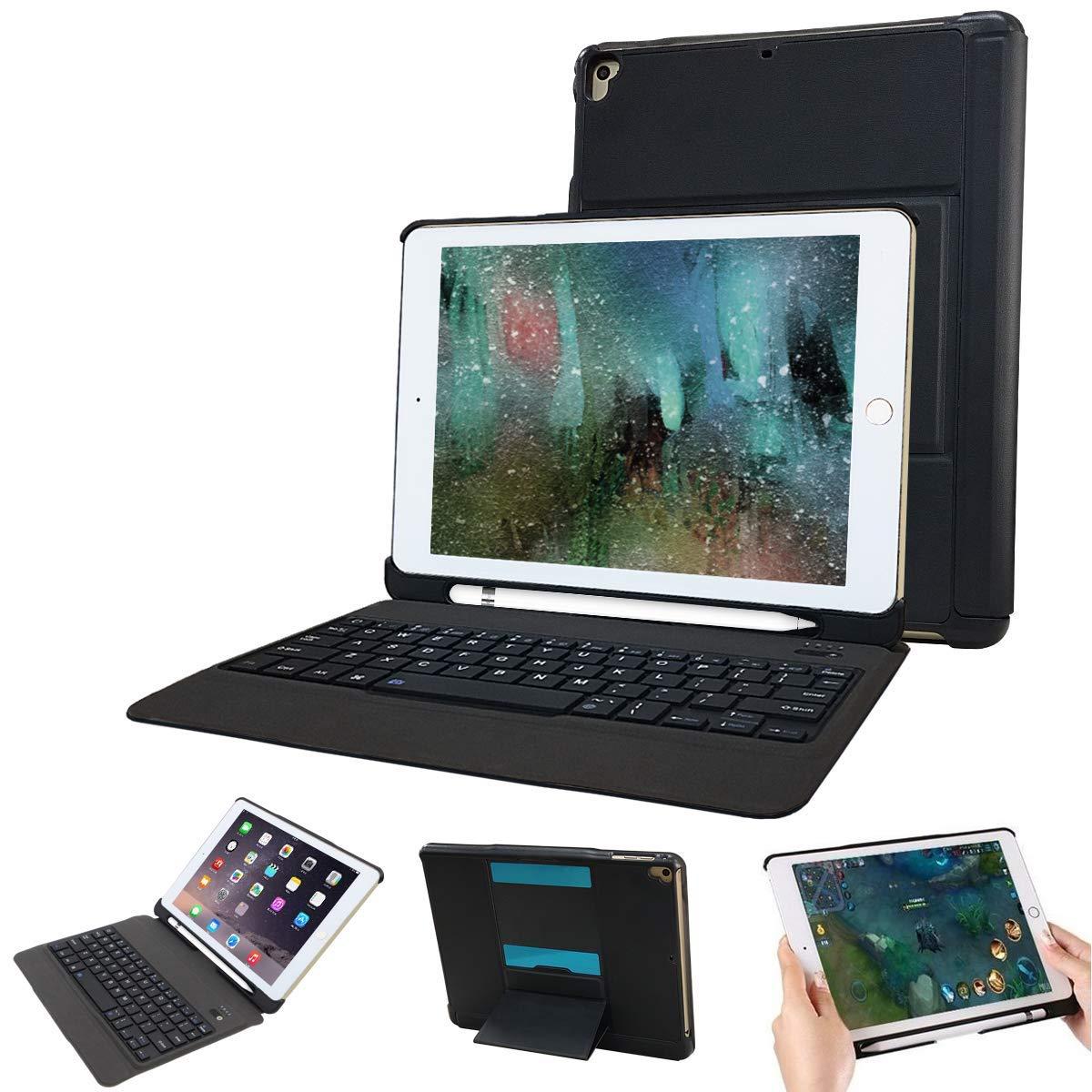 iPad 9.7 ワイヤレスキーボード ケース付き 分離式 耐衝撃 超薄型 タッチペン収納可能 取り外す可能 スタンド機能 ipad 第6世代 9.7 キーボード 2018 ケース カバー ケース付きiPad Air,iPad Air 2,iPad Pro 9.7,2017/2018 New iPad 9.7に対応 【日本語説明書付き】 (ブラック)