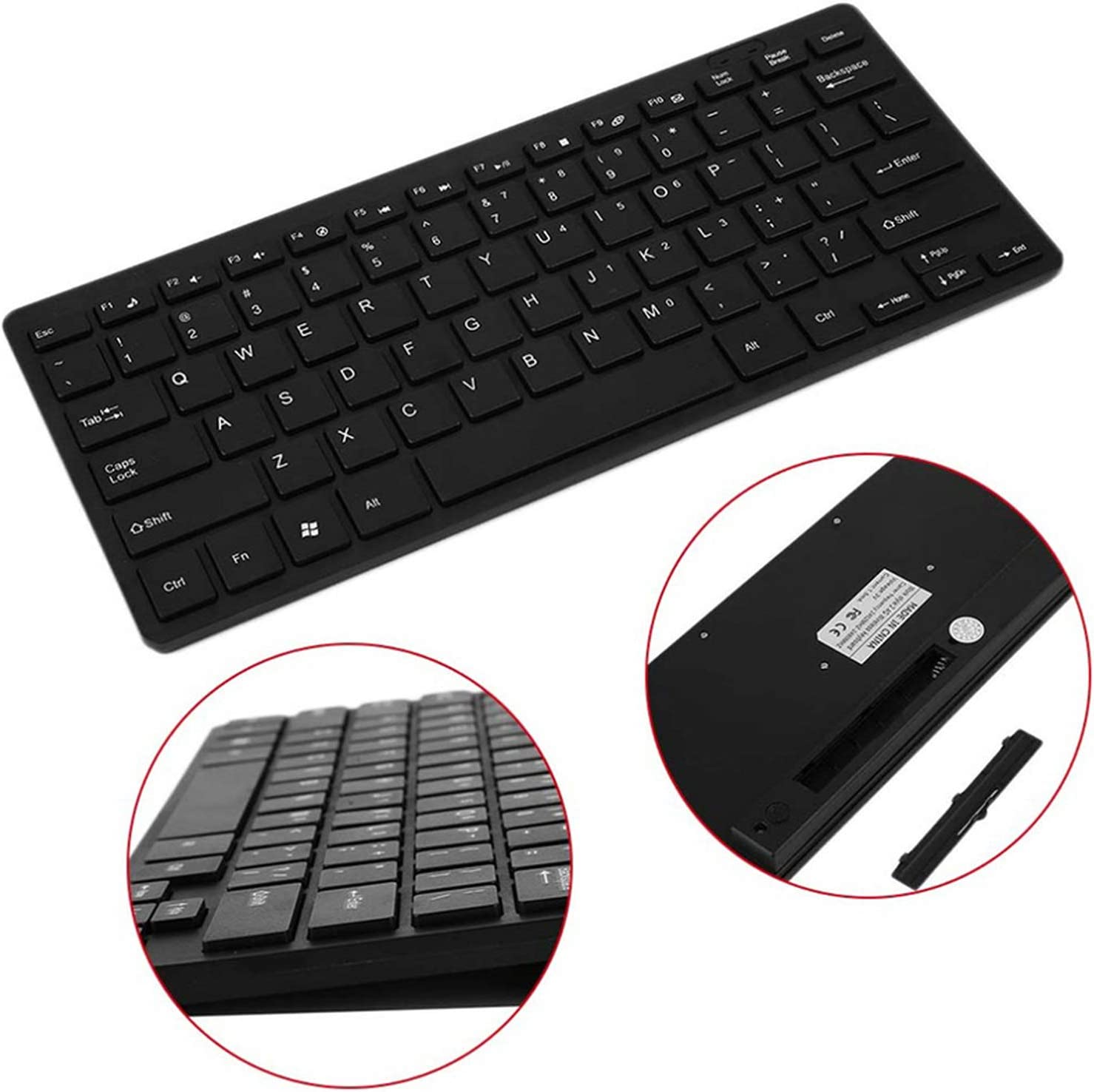 Mini Keyboard Mouse Combo Multimedia Wireless 2.4G Wireless Keyboard and Mouse Kit Keypad Slim for Android iOS Pc Laptop,Black