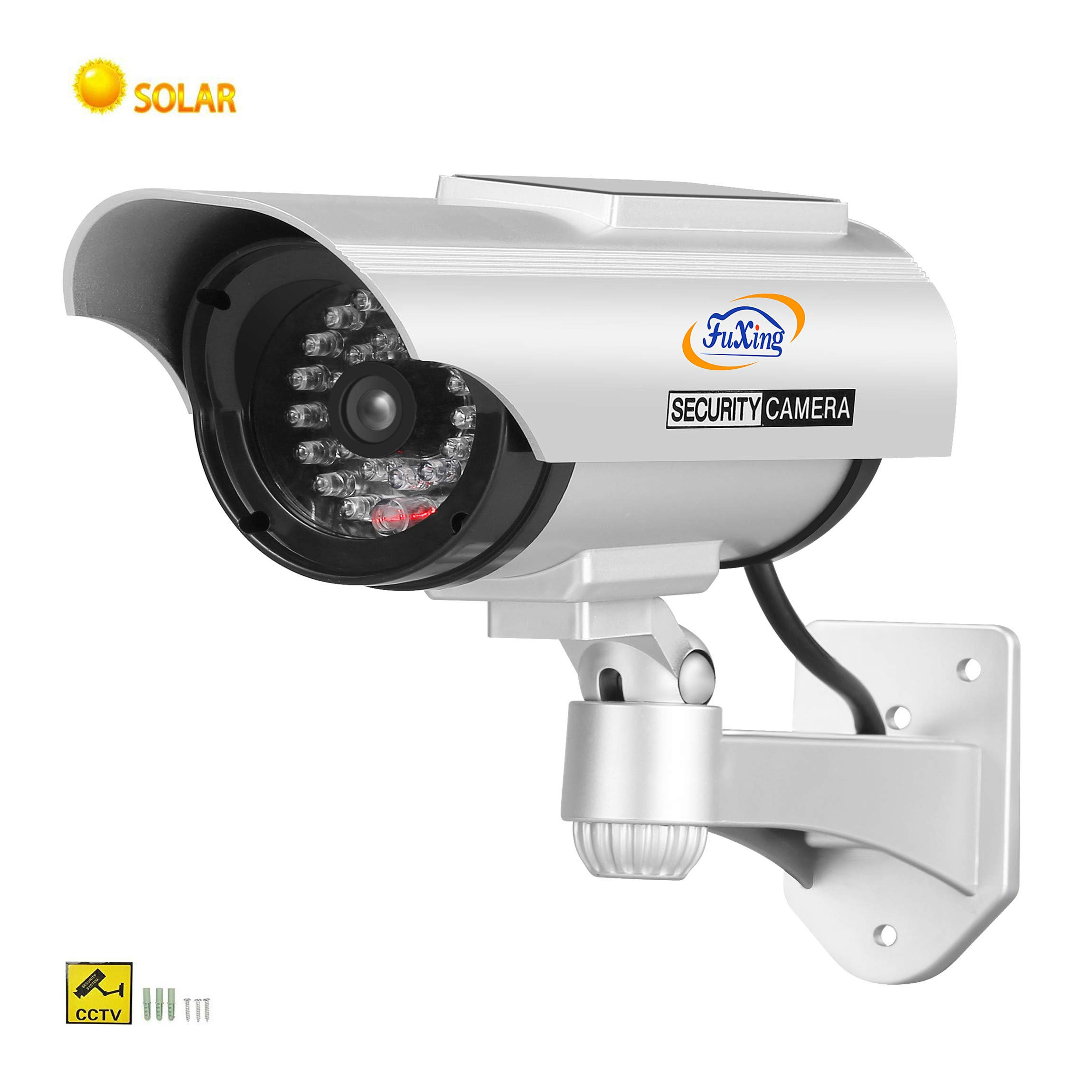 FX Solar Fake Dummy CCTV Security Surveillance Camera with Solar Pannel for Blinking Red LED Light with CCTV Warning Signs Sticker by FX