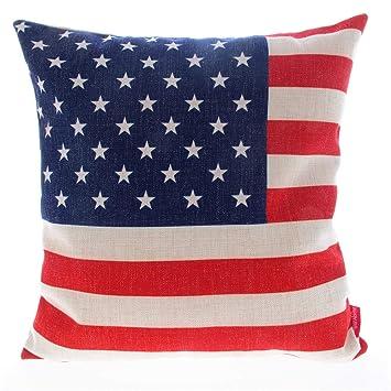 Amazon Kingla Home Square Cotton Linen Sofa Cushion Covers Unique American Flag Decorative Throw Pillow