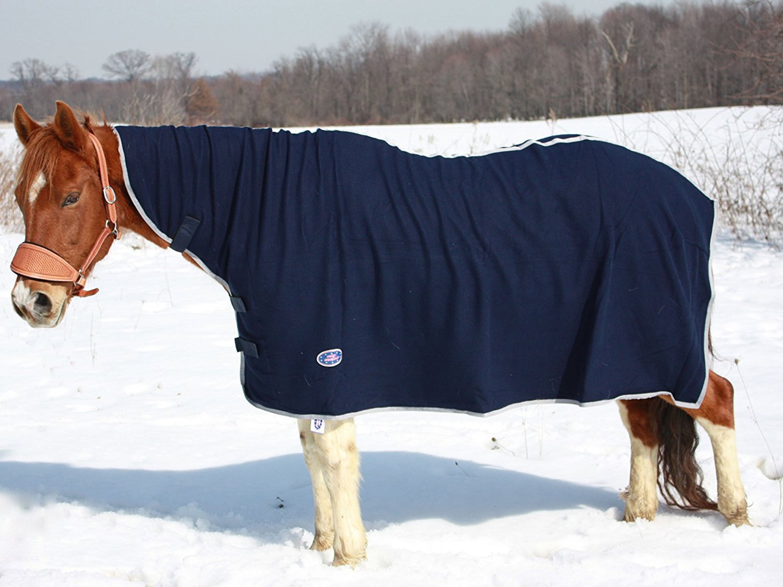 Derby Originals Horse fleece Cooler with Neck Cover, Navy, X-Large
