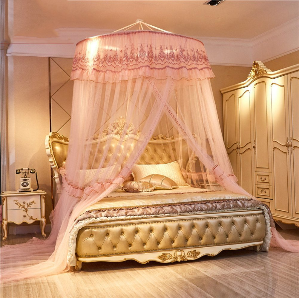 European princess dome suspended bed canopy mosquito net, Double Home Encrypt Thickened mosquito curtain-F Full-size