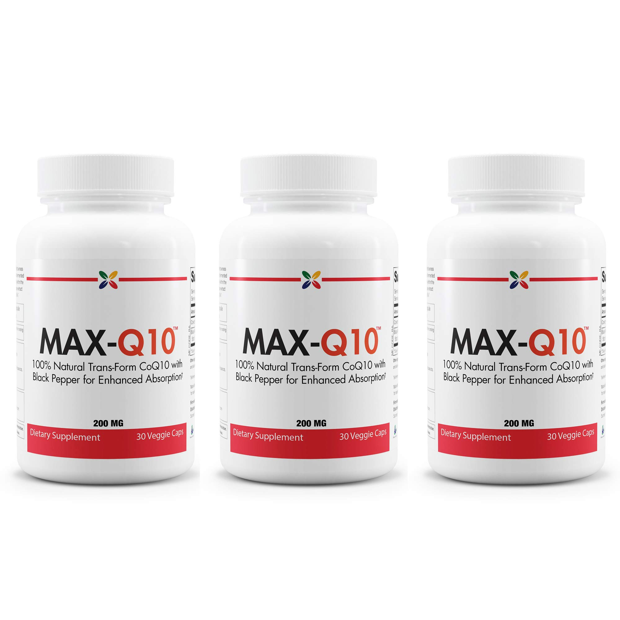 Stop Aging Now - MAX-Q10 CoEnzyme Q10 200 mg - 100% Natural Trans-Form CoQ10 with Black Pepper for Enhanced Absorption - 90 Veggie Caps (3 Bottles)