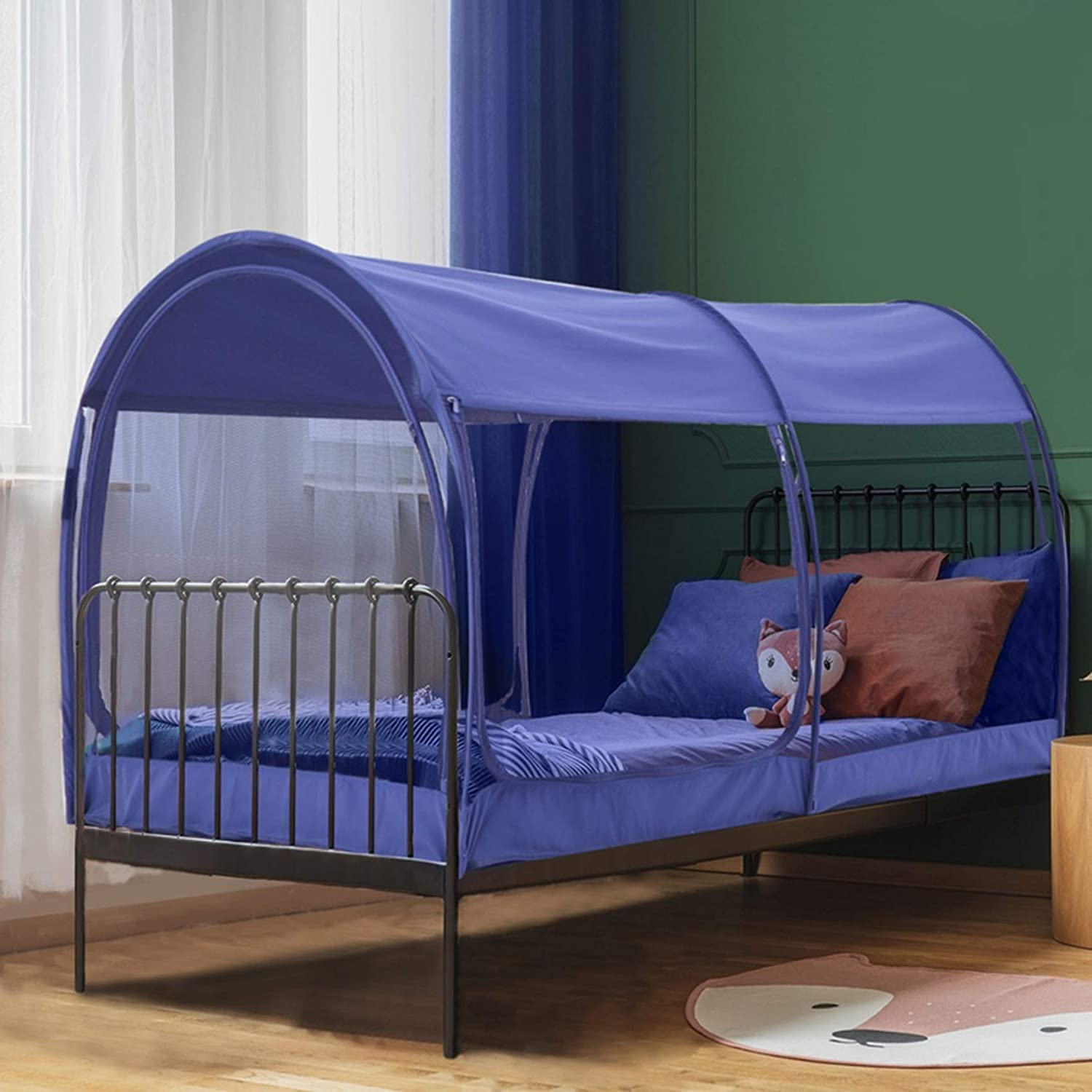 Amazon Com Leedor Mosquito Net Bed Tent Canopy Indoor Tent Privacy Bed Fort Dream Tent For Kids Or Adult Navy Twin 75 X 39 X 47h Mattress Not Included Home Kitchen