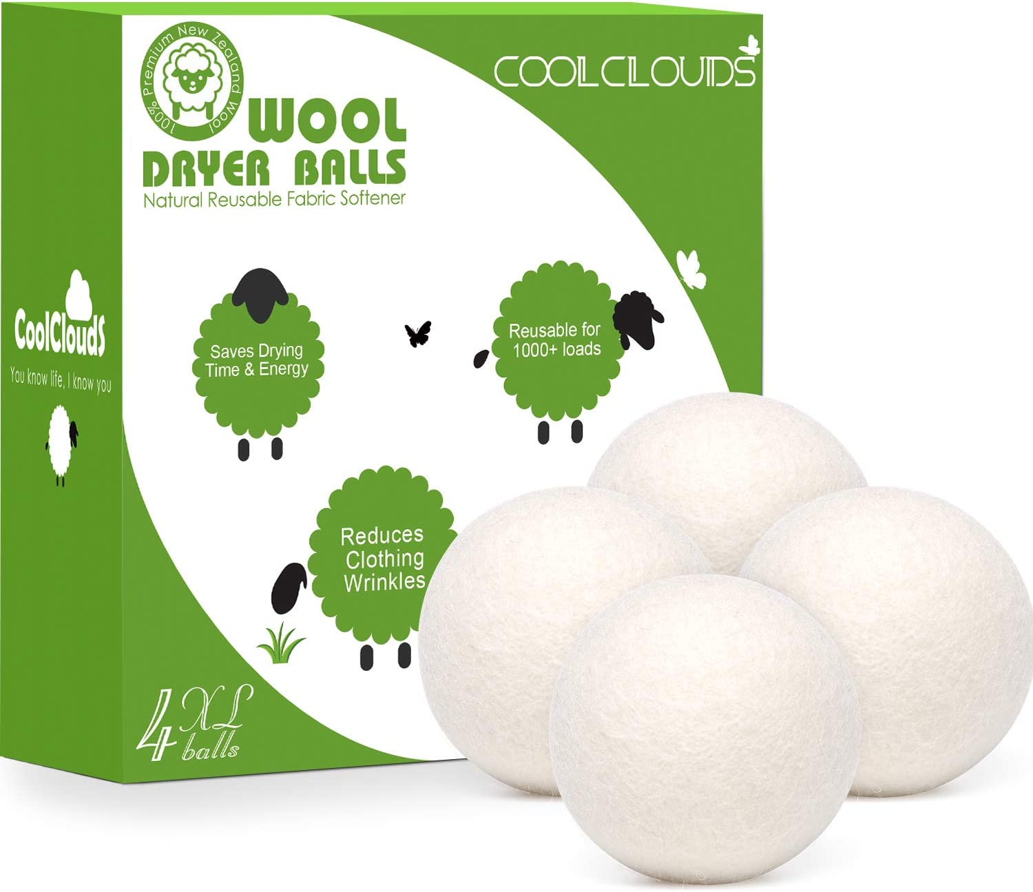 Wool Dryer Balls 4 Pack XL Natural Fabric Softener for Laundry - Reusable 100% Organic New Zealand Wool - Handmade Hypoallergenic Chemical Free - Reduces Wrinkles - Saving Time and Energy.
