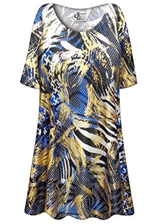 bd533601fc408 Blue Metallic Zebra Slinky Plus Size Supersize Extra Long A-Line Top ...
