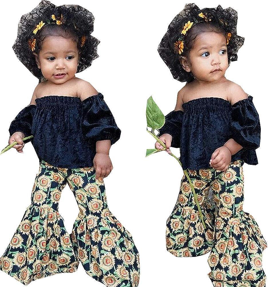 Pybcvrrd Toddler Girls Kids Solid Off Shoulder Tube Tops T-Shirt High Waist Long Pants Bell Bottom Leggings Set