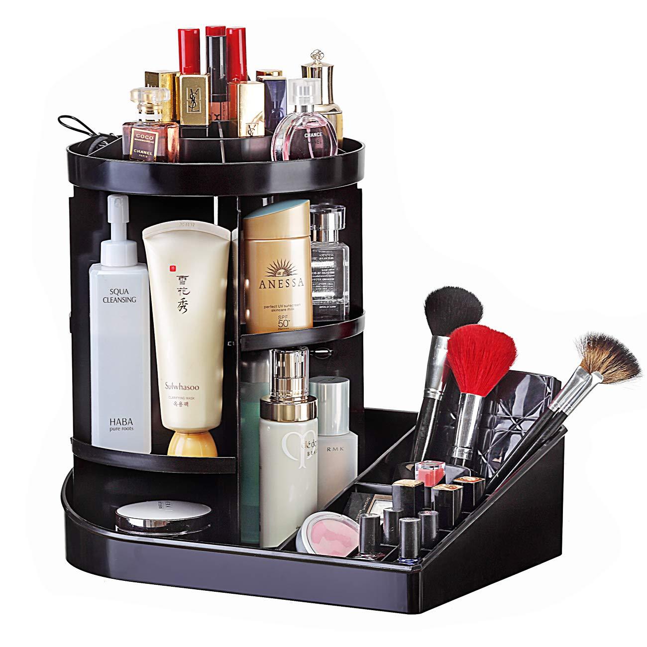 Ogrmar Adjustable 360 Degree Rotating Makeup Organizer Tray Large Capacity Cosmetics Carousel Spinning Holder Storage Rack Fits Toner, Creams, Makeup Brushes, Lipsticks More Black
