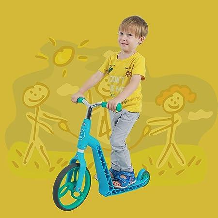 AEST Correpasillos Y Patinete 2 En 1 Bicicleta Sin Pedales Reversible Scooter 3 Ruedas niño niña 2-4 años - Color Azul