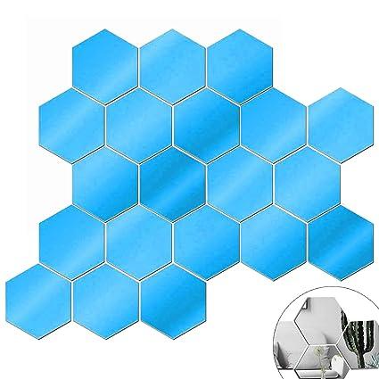color mogu 20 Pieces Acrylic Mirror Tiles Sheet Adhesive Wall Mirror  Flexible Self Adhesive Hexagon Non Glass Mirror