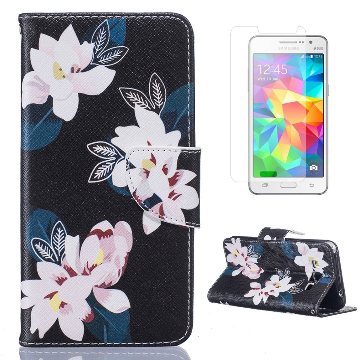 CasesHome Premium PU Leather Samsung Galaxy S5 Wallet Case + Unique Style Pattern Design Soft Shell-Purple Butterflies Flowers Free Screen Protector Card Holder Slot