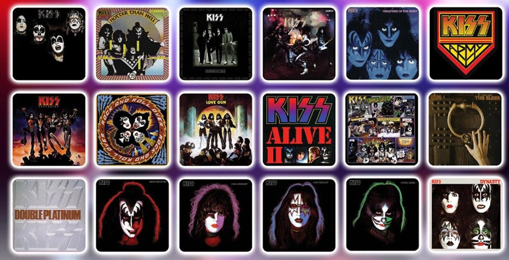 KISS Album Cover Coaster Set in Guitar Case - Con. Excl.