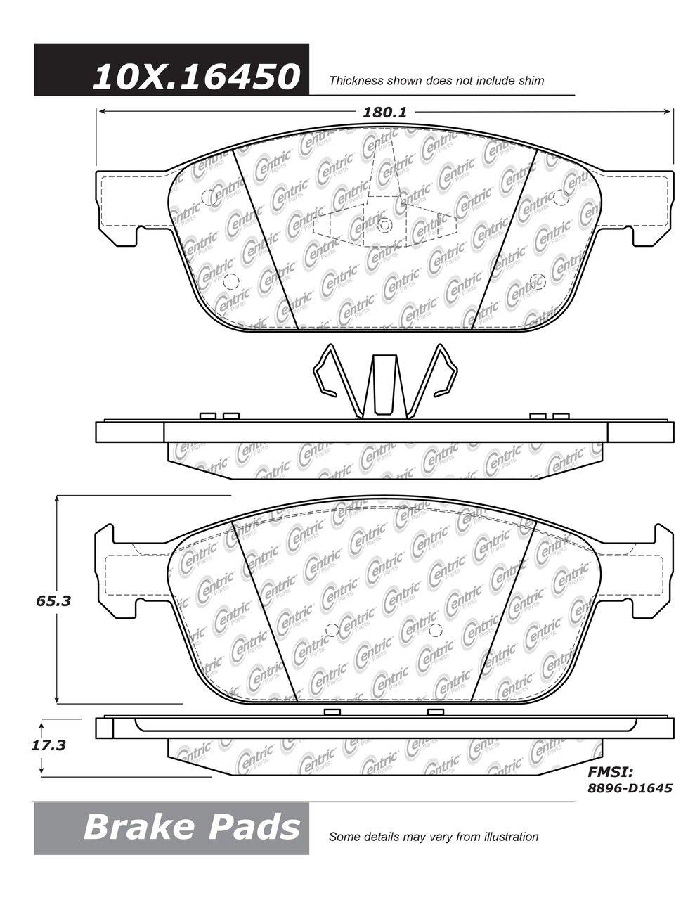 105.16450 Posi Quiet Brake Pad Ceramic Centric