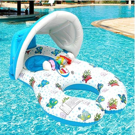Anillo de Cuello de Flotador portátil para Piscina de bebé con sombrilla Portátil Madre niños Nadar círculo Inflable Seguridad natación Anillo Flotador Asiento 97x55cm: Amazon.es: Juguetes y juegos