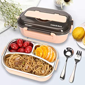 Bento Boxes for Kids,Bento Lunch Box For Adults Childrens With Spoon & Fork - Durable, Leak-Proof and Reusable Materials (Pink)