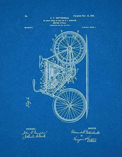 Motorcycle patent print art poster blueprint 85 x 11 amazon motorcycle patent print art poster blueprint 85quot malvernweather Images
