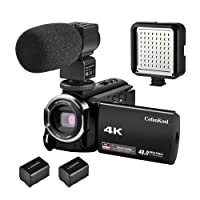 CofunKool Camcorder 4K Video Camera 48MP 60FPS Ultra HD 3.0 IPS LCD Touch Screen IR Night Vision WIFI 16X Digital Zoom Recorder with External Microphone, LED Video Light and 2*Batteries