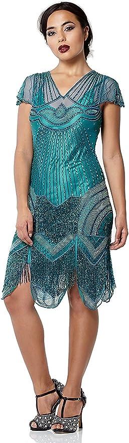 Vintage 1920s Dresses – Where to Buy gatsbylady london Beatrice Vintage Inspired Fringe Flapper Dress in Teal £139.00 AT vintagedancer.com