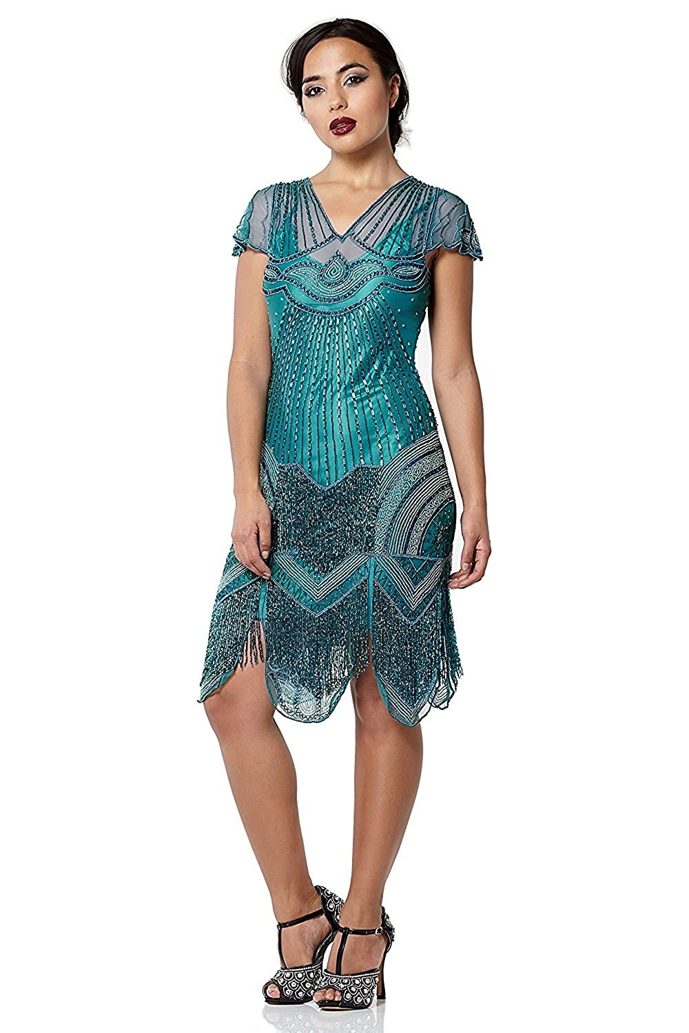 1920s Style Dresses, Flapper Dresses Beatrice Vintage Inspired Fringe Flapper Dress in Teal £139.00 AT vintagedancer.com