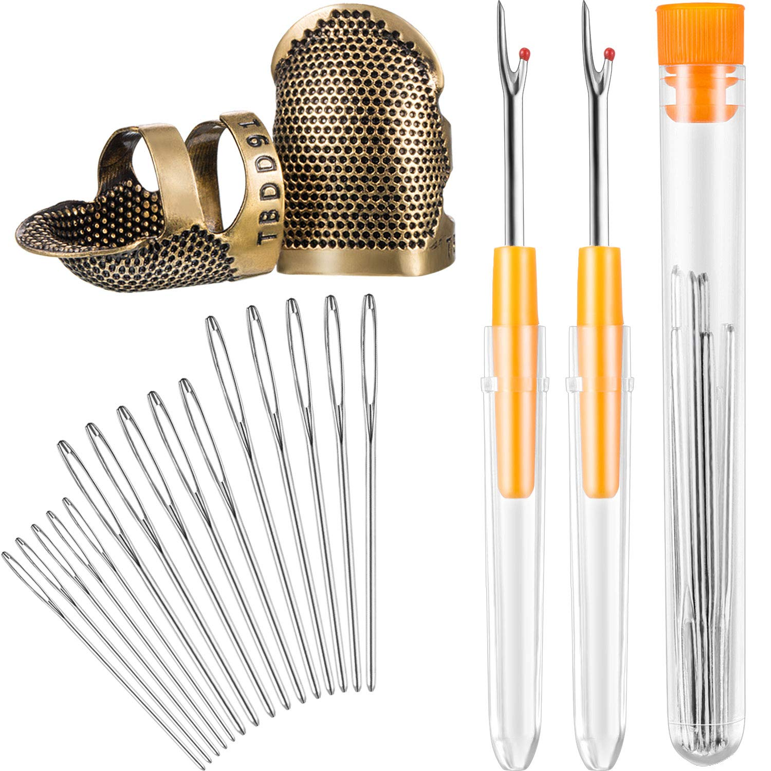 Hestya Sewing Tool kit, 2 Pieces Sewing Thimble Finger Protector Copper Adjustable Finger Protector and 2 Pieces Seam Stitch Rippers and 15 Pieces Large-Eye Yarn Knitting Needles 4337013092