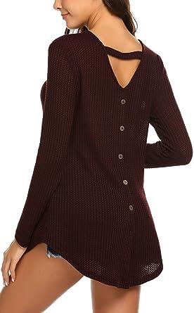 91fd7dbca79d6 Halife Women s Open Back V Neck Button Decor Knit Sweater Long ...