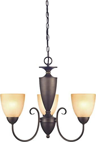 Westinghouse Lighting 6223000 Chapel Hill Three-Light Interior Chandelier, Oil Rubbed Bronze Finish with Antique Amber Scavo Glass