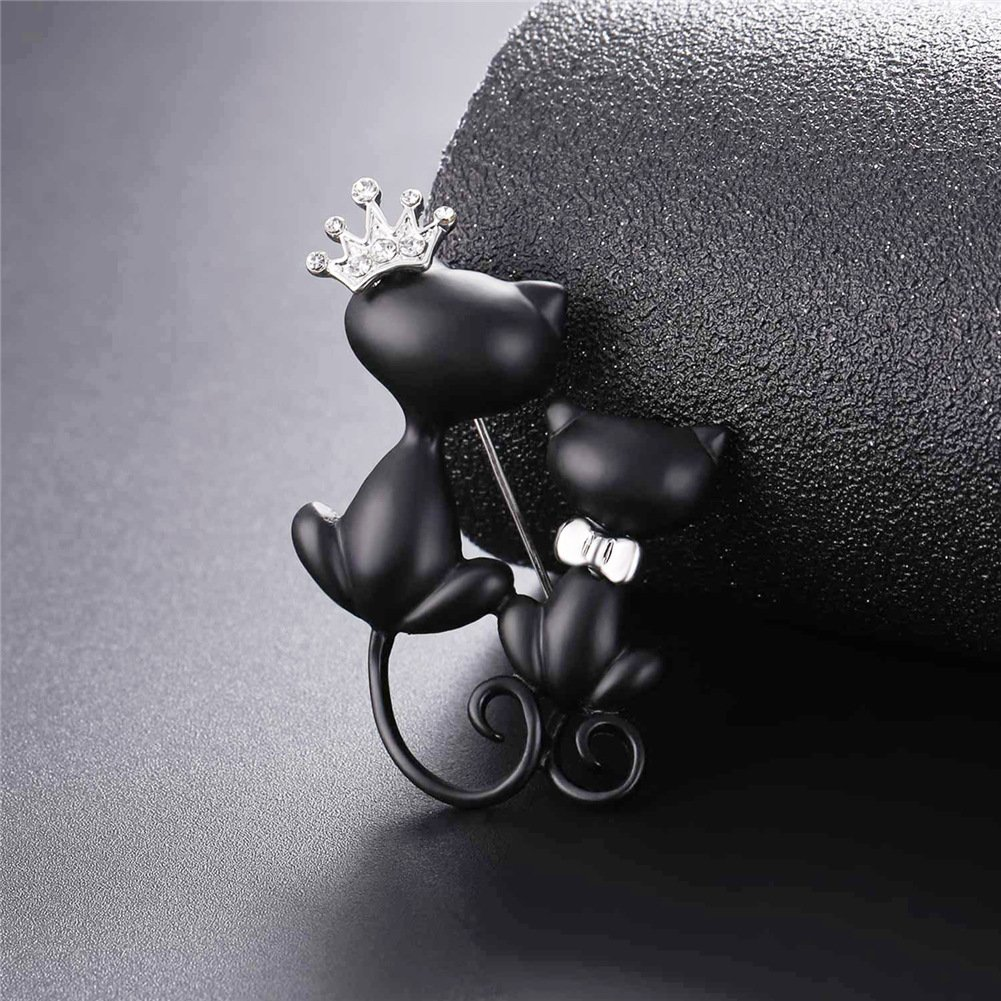 Lovely Crown Cat Brooch & Pin Black Gun Plated Double Kittens Cute Brooches Accessories for Women by U7 (Image #2)
