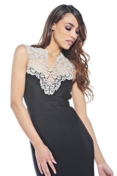 dab58f9c67 AX Paris Crochet Neck Split Maxi Dress(Black