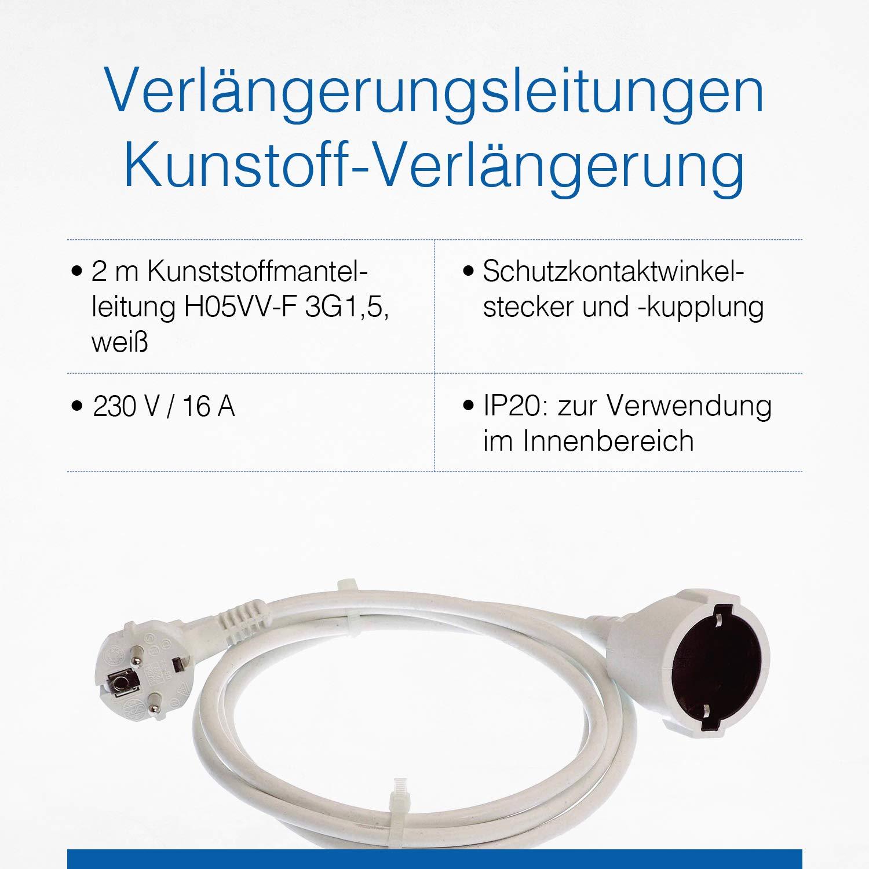 as IP20 230 V // 16 A Schuko-Verl/ängerungskabel mit Kunststoffummantelung Schwabe Kunststoff-Verl/ängerung Wei/ß I 50311 3 m PVC-Leitung mit Schutzkontaktstecker /& Schutzkontaktkupplung /