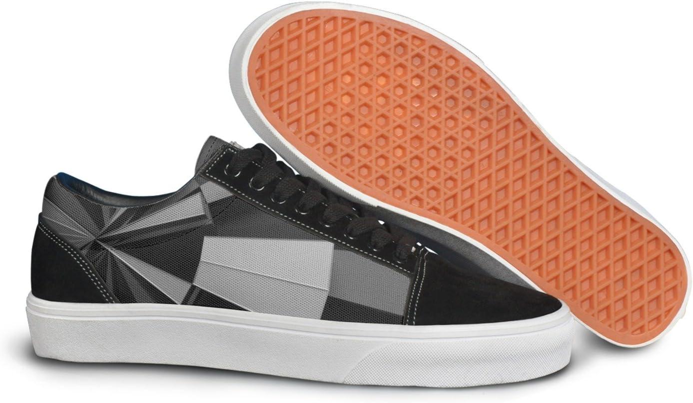 VCERTHDF Print Trendy Geometric Stereoscopic Art Low Top Canvas Sneakers
