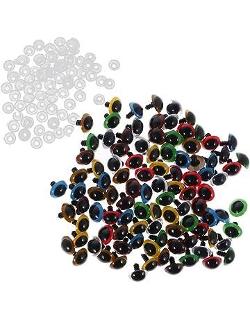 Gazechimp 100pcs Ojos Plástico de Color Mezclado Seguridad con Arandelas para Bircolaje Muñeca de Diferentes Tamaños