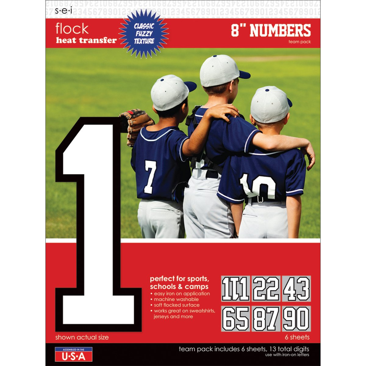 SEI 8-Inch Iron-On Team Pack Numbers, Black S·E·I 9-103