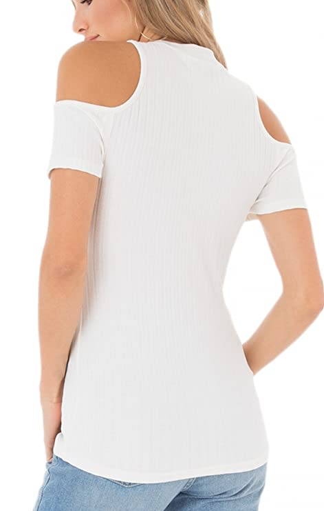 fce1208db9b31b Black Swan BT181362 Rylan Ribbed Cold Shoulder Top in Bright White at  Amazon Women s Clothing store
