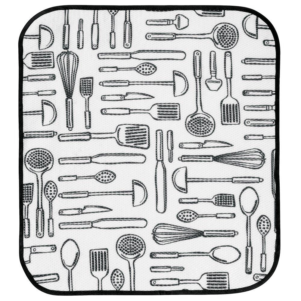 Bianco//Nero InterDesign iDry Tappetino lavello Grande e Sottile Tappetino Cucina in Poliestere per Asciugatura Veloce delle stoviglie