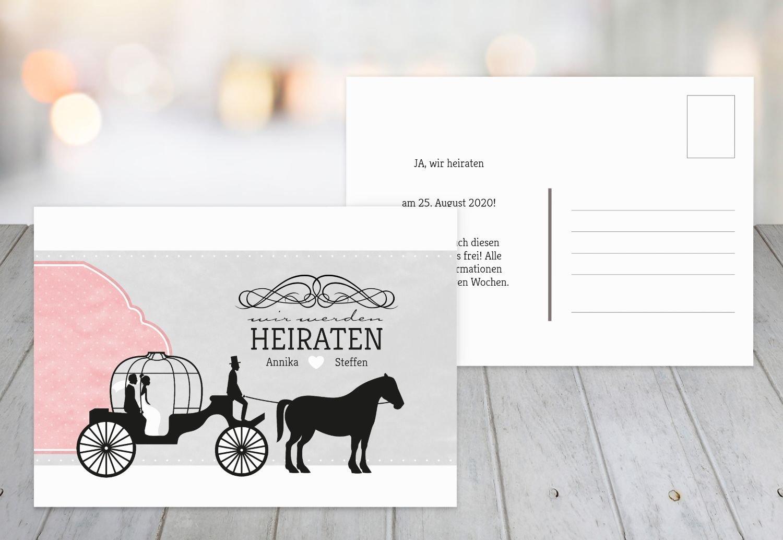 Save-the-Date Kutsche, 30 Karten, HellRosa B07B6NMX4Z | Rabatt  | Niedrige Kosten  | Produktqualität