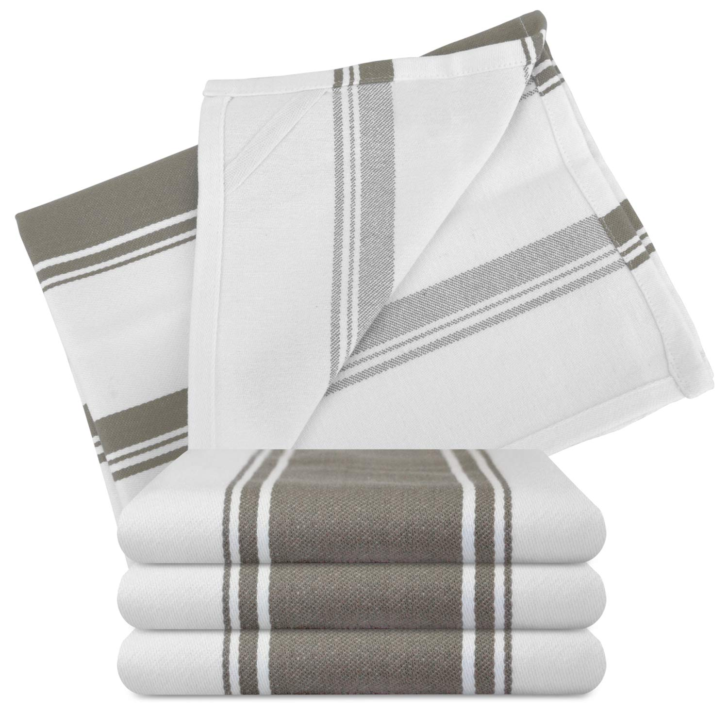 Kitchen Dish Towels - Set of 4 Cotton Tea Towels 20 x 28 inch - Best Dish Cloths for Hand Towels or Embroidery in Vibrant Colors - Greige