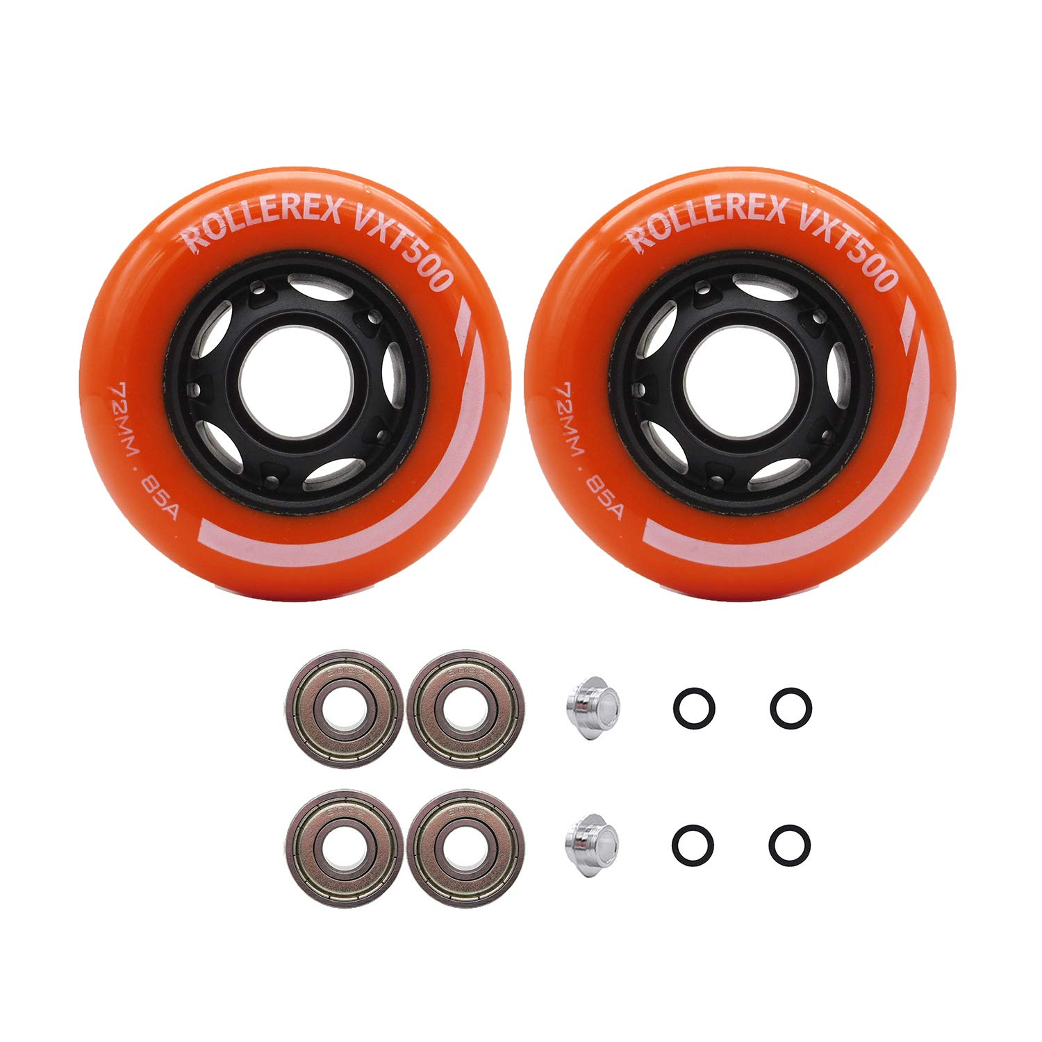 Rollerex VXT500 Inline Skate Wheels (2-Pack w/Bearings, spacers and washers) (Sunrise Orange, 72mm) by Rollerex