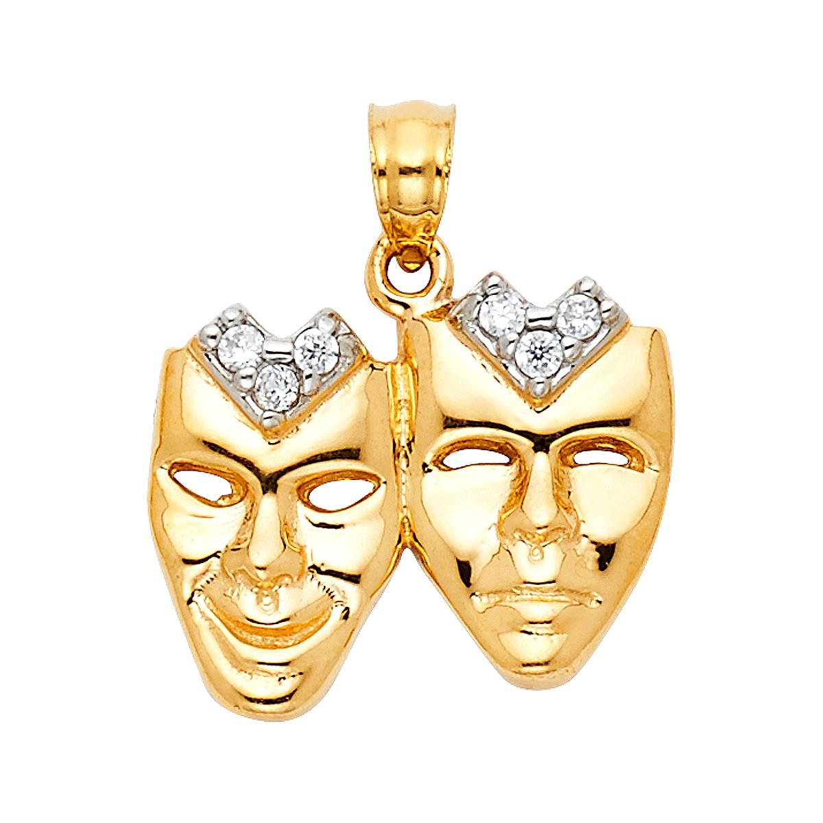 Height 18 MM Width 17 MM TGDJ 14K Yellow Gold Mask Pendant