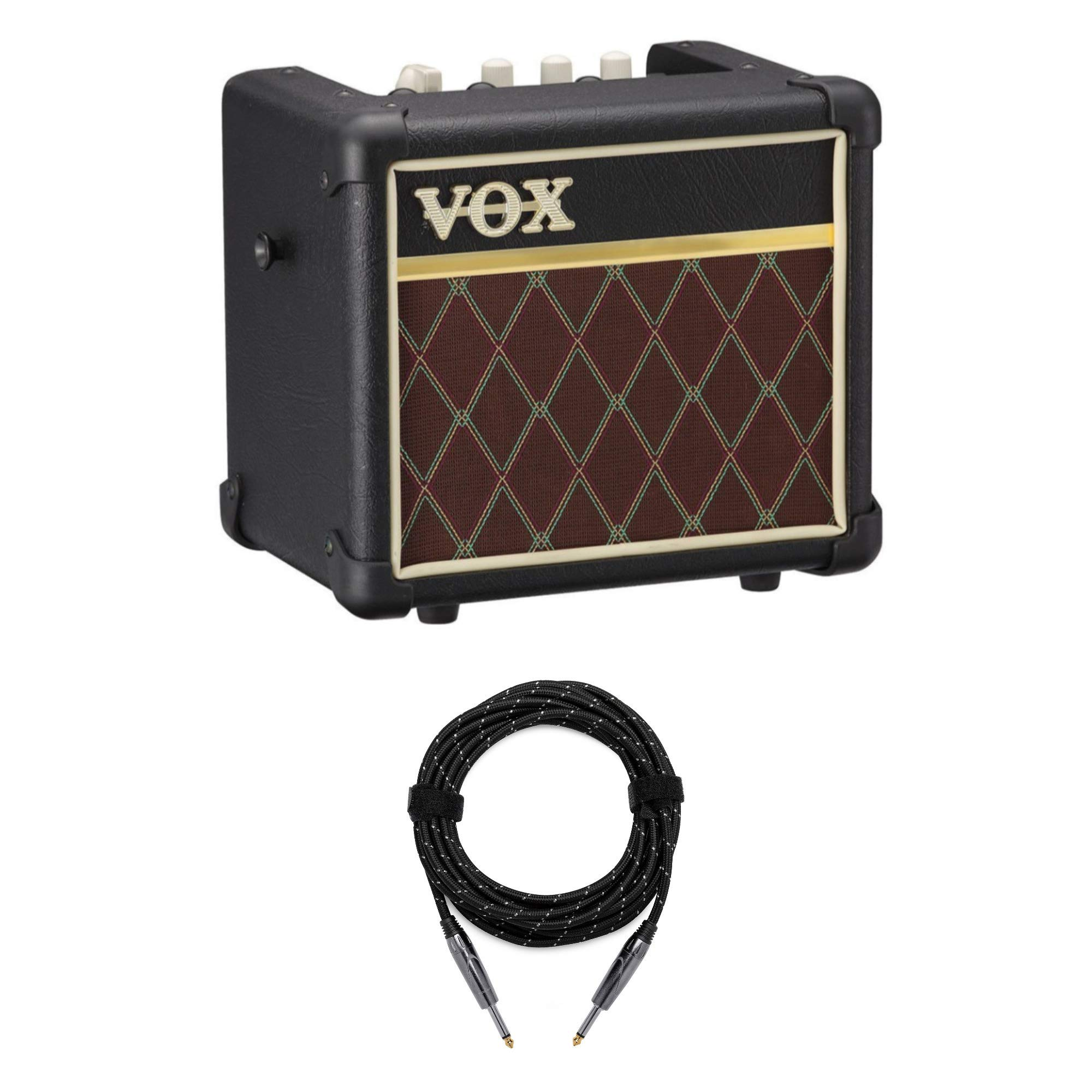 VOX MINI3 G2 Battery Powered Modeling Amp (3W, Classic) Bundle with Knox Guitar Cable (2 Items) by Vox