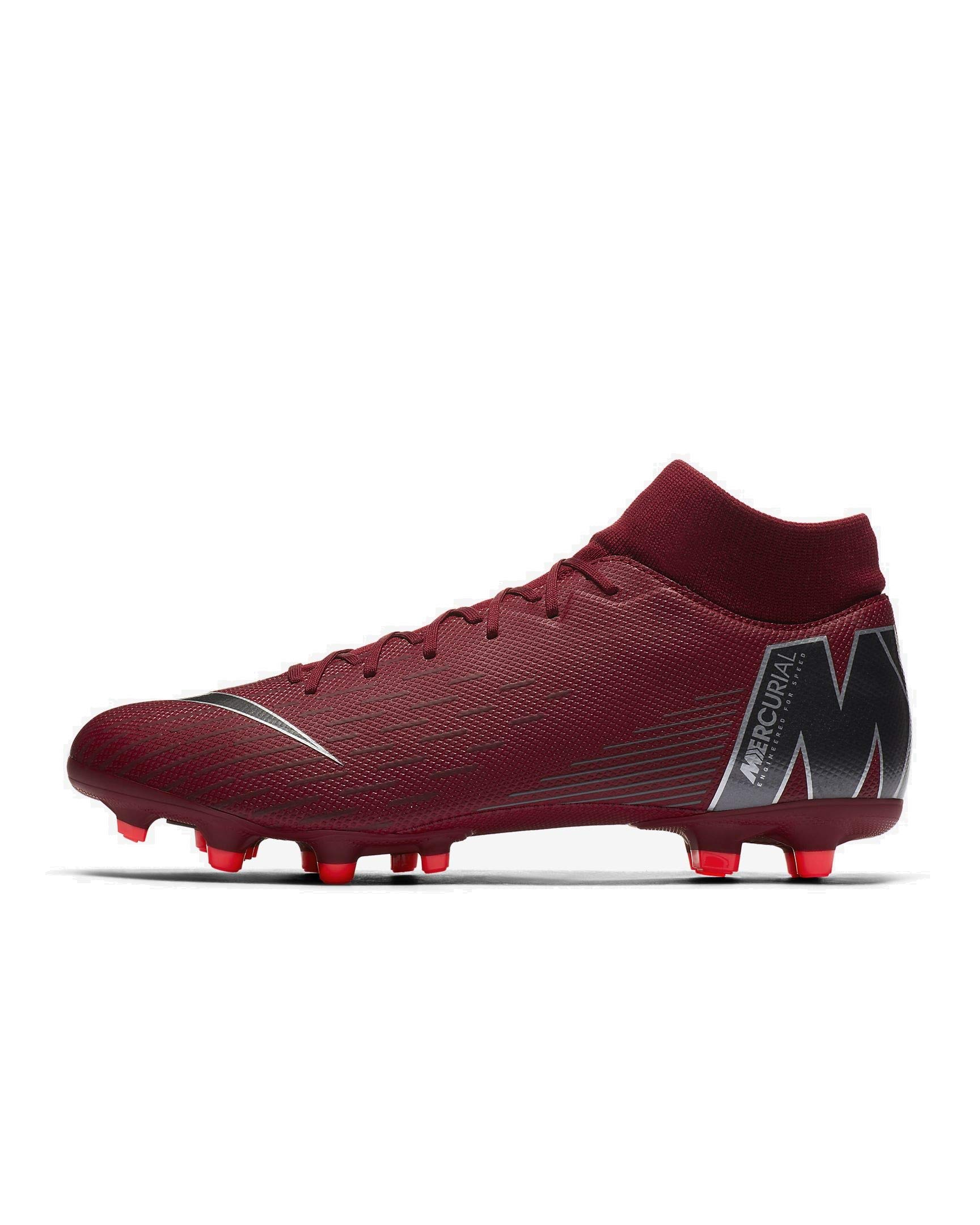 NIKE Men's Mercurial Superfly VI Academy FG/MG Soccer Cleats (Team Red/MTLC Dark Grey) (10.5)