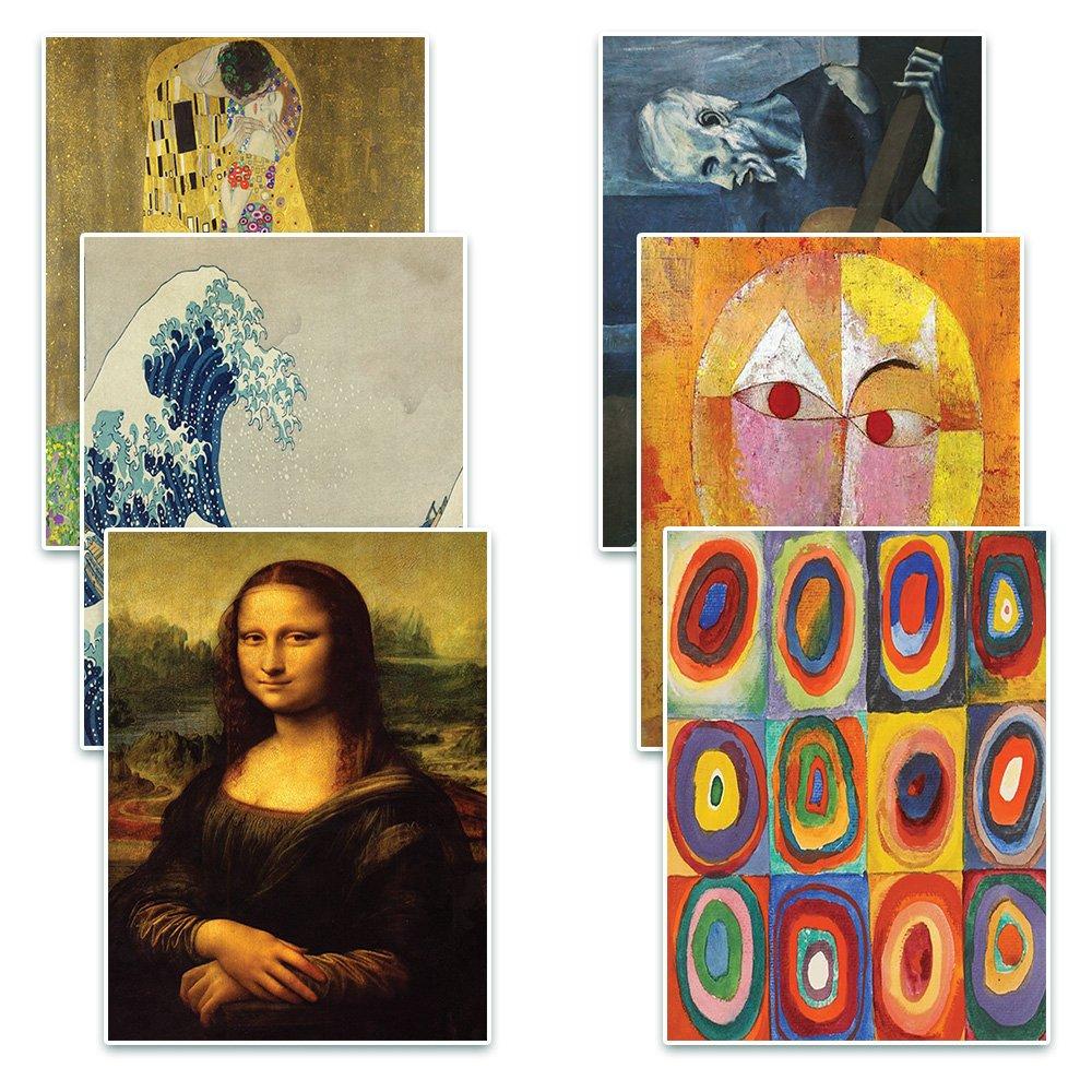 Creanoso Famous Art Paintings Postcards Cards (60 Pack)- Pablo Picasso, Gustav Klimt, Wassily Kandinsky, Leonardo da Vinci, Paul Klee, Katsushika Hokusai Painting Prints Decor Gifts by Creanoso